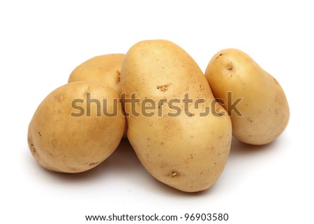 raw potatoes isolated on a white background