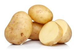 Raw potatoes isolated on white background