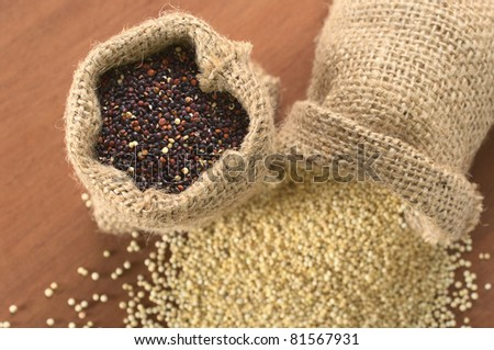 Raw red quinoa grains in jute sack on wood, with white quinoa lying beneath. Quinoa is grown in the Andes and is valued for its high protein content (Selective Focus, Focus on the red quinoa)