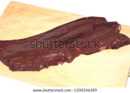 raw red raw steaks of adult bovine liver