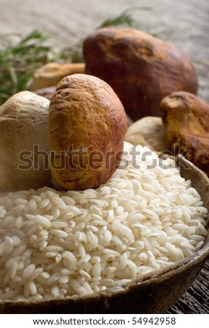 raw rice on bowl with cep