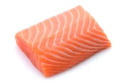Raw Salmon Filet Isolated On White