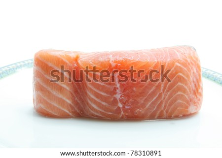 raw salmon fillet isolated on dish - stock photo