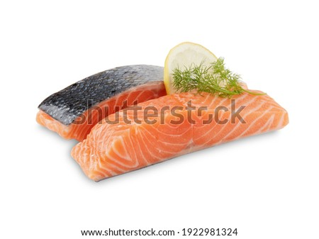 raw salmon fillet isolated on white background with clipping path ストックフォト ©