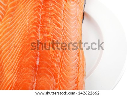 raw salmon fillet isolated on white plate