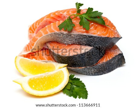 raw salmon isolated on white background