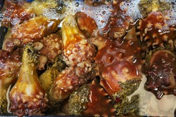Raw sea squirt for sale at a fish market near Seoul, South Korea