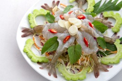 raw shrimp and spicy sauce, seafood thailand (spicy salad shrimp in fish sauce).
