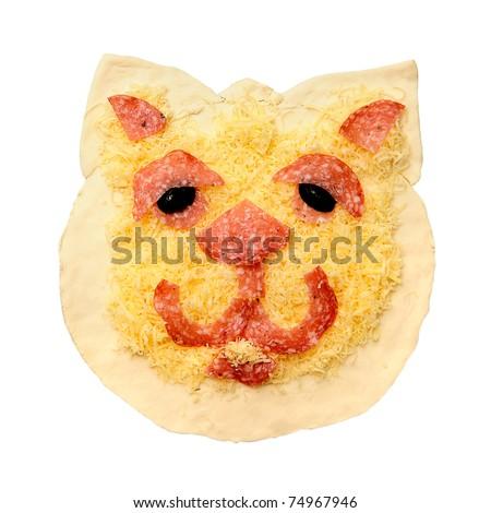 raw smiley faced delicious Pizza dough (animal face)