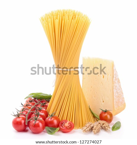 raw spaghetti with tomatoes and cheese