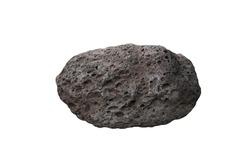 raw specimen of basalt rock isolated on white background.