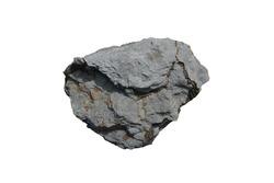 Raw specimen of black shale sedimentary rock isolated on white background.