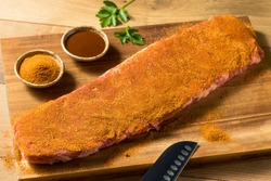 Raw St Louis Style BBQ Ribs with Rub Ready to Cook