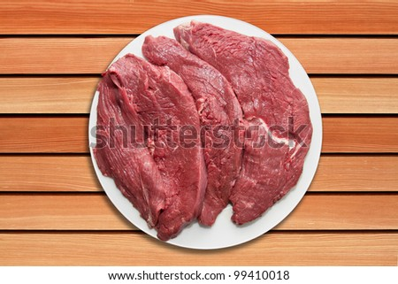 Raw steaks on serving table