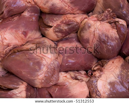 Raw swine hearts