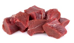 raw tasty beef isolated on white background