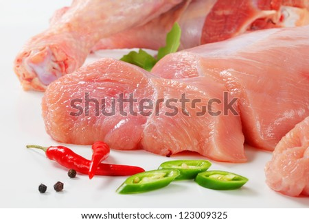 Raw turkey meat
