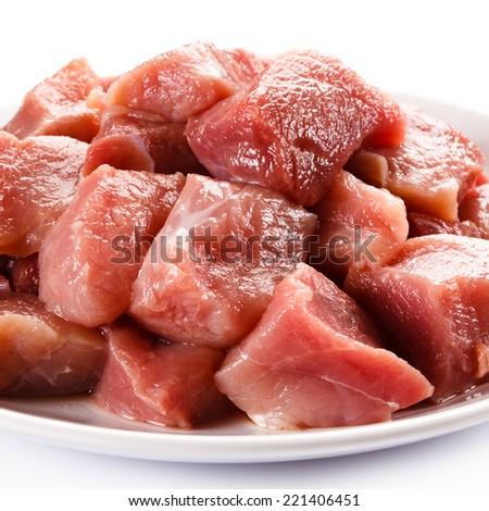Raw turkey meat on white background