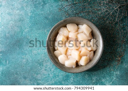 Raw uncooked scallops in vintage metal bowl over turquoise texture background. Top view, copy space