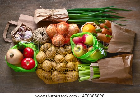 Raw vegetables in eco bags. Zero waste concept. Free plastic shopping and reuse #1470385898