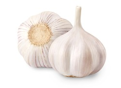 Raw whole garlic isolated on white background. Full depth of field.
