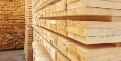 Raw wood drying in the lumber warehouse