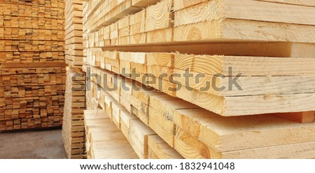 Raw wood drying in the lumber warehouse Foto stock ©