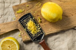 Raw Yellow Organic Lemon Zest Ready to Cook With