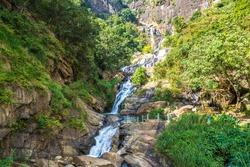 Rawana waterfall in a sunny day in Sri Lanka