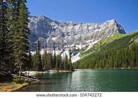 Rawson Lake and Mount Sarrail, Kananaskis Country, Alberta, Canada Rawson Lake is an easy, but steep hike, 1-1/2 hour (one way) Hike from the Parking Lot. - stock photo