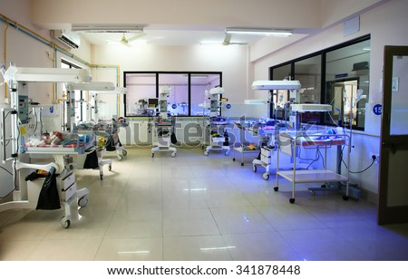 RAXAUL, INDIA - OCT 21: Neonatal intensive care unit of a local hospital on Oct 21, 2011 in Raxaul, Bihar, India. Bihar is one of the poorest states in India.