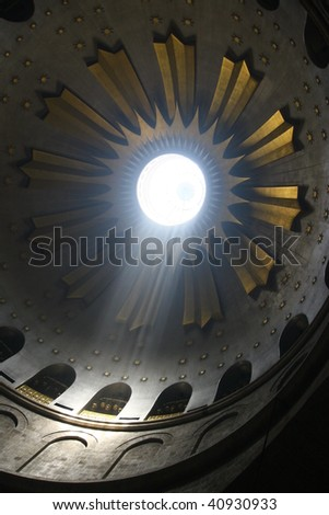 Ray of Light in the church of the holy sepulchre, jerusalem, israel.