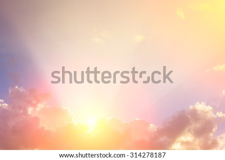 ray of sunlight on clouds with space for display text