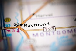 Raymond. Illinois. USA on a geography map