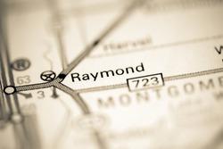 Raymond. Illinois. USA on a geography map