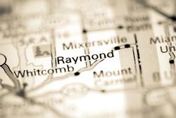 Raymond. Indiana. USA on a geography map