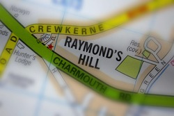 Raymond's Hill village - Devon, United Kingdom colour atlas map town plan and district, village, town and county name