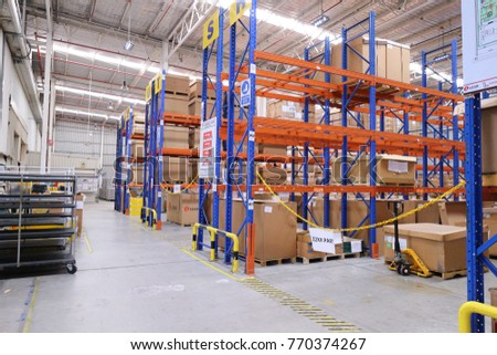 Rayong Thailand , December 07 - 2017 : Factory warehouse and wood pallet rack in Thailand. #770374267