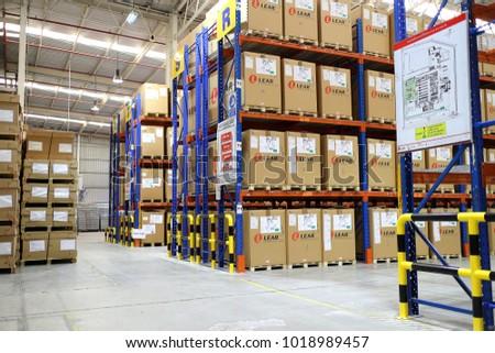 Rayong Thailand , Feb. 06 - 2018 : factory warehouse and raws material boxes. #1018989457