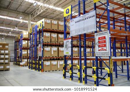 Rayong Thailand , Feb. 06 - 2018 : factory warehouse and raws material boxes. #1018991524