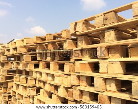 Rayong Thailand , February 20 - 2017 : wood pallets in factory for scrap recycling in Thailand #583159405