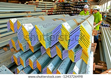 RAYONG-THAILAND-JANUARY 4 : Hot-dip galvanized steel member for steel tower in Transmission line before shipment, January 4, 2017, Rayong Province, Thailand  #1243726498