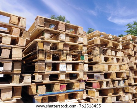 Rayong Thailand , Nov. 24 - 2017 : Wood pallet stack in factory warehouse. #762518455