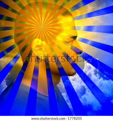 Rays beam out from a mans head - stock photo