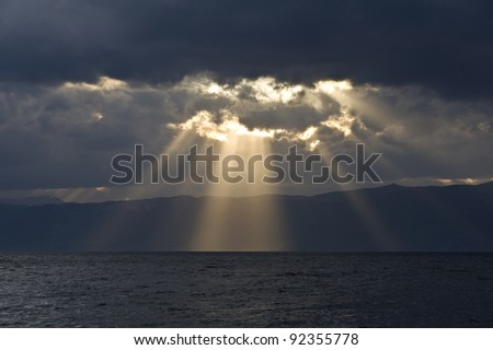 Rays from the cloudy sky