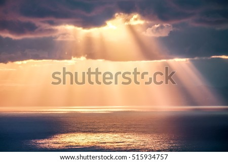 Rays of light after storm, seascape photography. #515934757