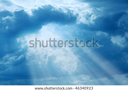 Rays of light and dramatic sky.