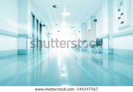 Rays of light in the corridor of the hospital.