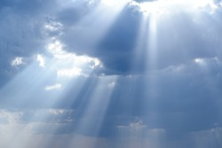 Rays of light shining down in the morning