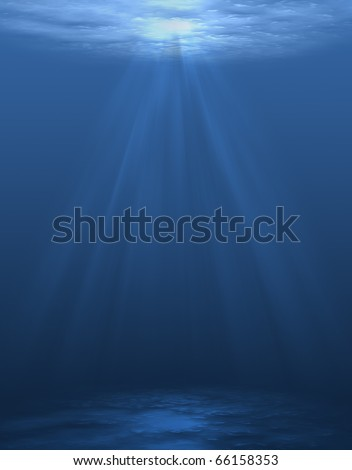 Rays of light underwater,blue background